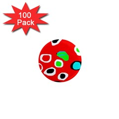 Red abstract pattern 1  Mini Magnets (100 pack)