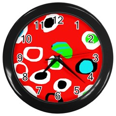 Red abstract pattern Wall Clocks (Black)