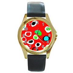 Red abstract pattern Round Gold Metal Watch