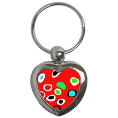 Red abstract pattern Key Chains (Heart)