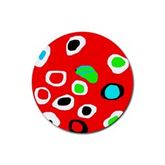 Red abstract pattern Rubber Round Coaster (4 pack)