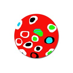Red abstract pattern Magnet 3  (Round)