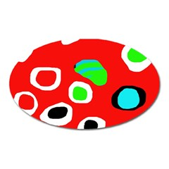 Red abstract pattern Oval Magnet