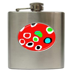 Red abstract pattern Hip Flask (6 oz)
