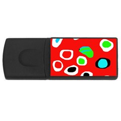 Red abstract pattern USB Flash Drive Rectangular (1 GB)
