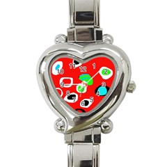 Red abstract pattern Heart Italian Charm Watch