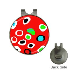 Red abstract pattern Hat Clips with Golf Markers