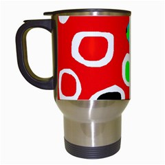 Red abstract pattern Travel Mugs (White)