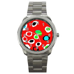 Red abstract pattern Sport Metal Watch