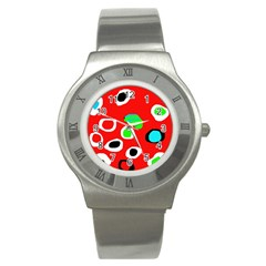Red abstract pattern Stainless Steel Watch