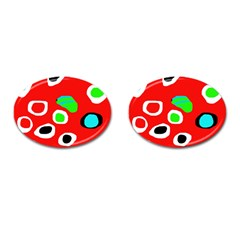 Red abstract pattern Cufflinks (Oval)
