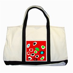 Red abstract pattern Two Tone Tote Bag