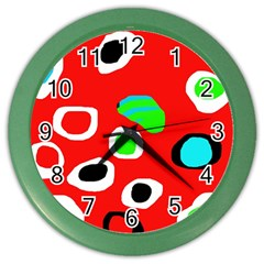 Red abstract pattern Color Wall Clocks