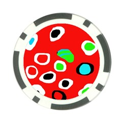 Red abstract pattern Poker Chip Card Guards (10 pack)
