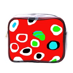 Red abstract pattern Mini Toiletries Bags