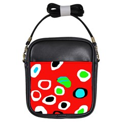 Red abstract pattern Girls Sling Bags