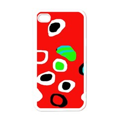 Red abstract pattern Apple iPhone 4 Case (White)