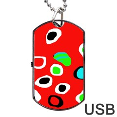 Red abstract pattern Dog Tag USB Flash (One Side)