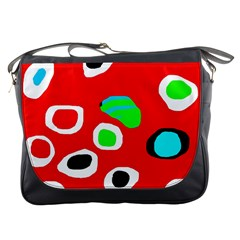 Red abstract pattern Messenger Bags