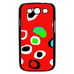 Red abstract pattern Samsung Galaxy S III Case (Black)