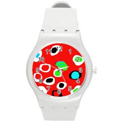 Red abstract pattern Round Plastic Sport Watch (M)