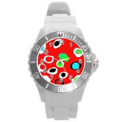 Red abstract pattern Round Plastic Sport Watch (L)