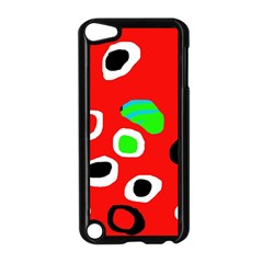 Red abstract pattern Apple iPod Touch 5 Case (Black)