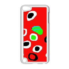 Red abstract pattern Apple iPod Touch 5 Case (White)