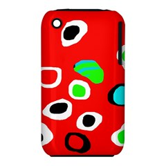 Red abstract pattern Apple iPhone 3G/3GS Hardshell Case (PC+Silicone)