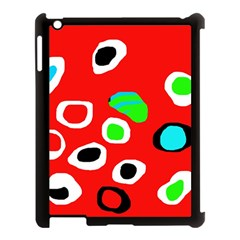 Red abstract pattern Apple iPad 3/4 Case (Black)