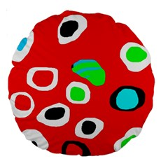 Red abstract pattern Large 18  Premium Round Cushions