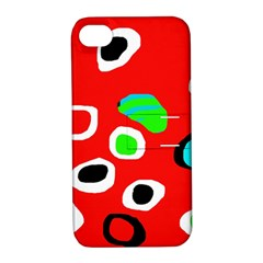 Red abstract pattern Apple iPhone 4/4S Hardshell Case with Stand