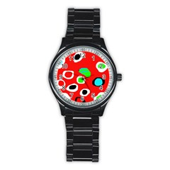 Red abstract pattern Stainless Steel Round Watch