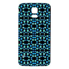Dots Pattern Turquoise Blue Samsung Galaxy S5 Back Case (White)