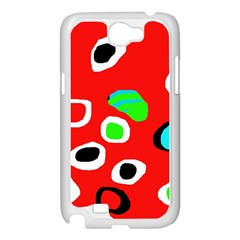 Red abstract pattern Samsung Galaxy Note 2 Case (White)