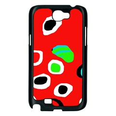 Red abstract pattern Samsung Galaxy Note 2 Case (Black)