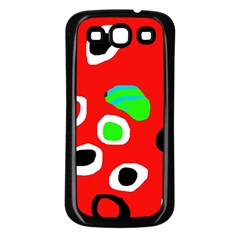 Red abstract pattern Samsung Galaxy S3 Back Case (Black)