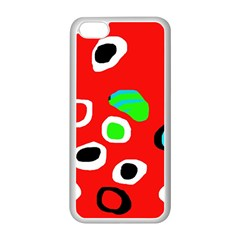 Red abstract pattern Apple iPhone 5C Seamless Case (White)
