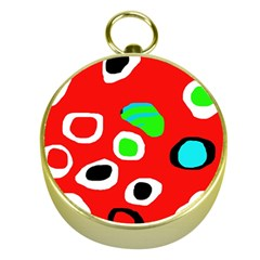 Red abstract pattern Gold Compasses