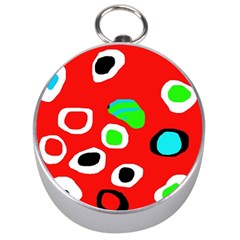 Red Abstract Pattern Silver Compasses
