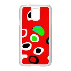 Red abstract pattern Samsung Galaxy S5 Case (White)