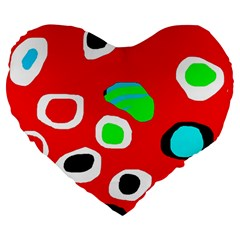 Red abstract pattern Large 19  Premium Flano Heart Shape Cushions