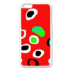 Red abstract pattern Apple iPhone 6 Plus/6S Plus Enamel White Case