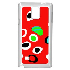 Red abstract pattern Samsung Galaxy Note 4 Case (White)