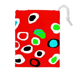 Red abstract pattern Drawstring Pouches (Extra Large)