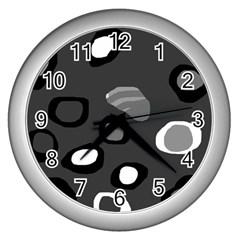 Gray abstract pattern Wall Clocks (Silver)