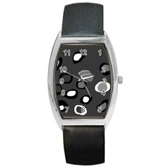 Gray abstract pattern Barrel Style Metal Watch