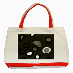 Gray abstract pattern Classic Tote Bag (Red)