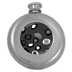 Gray abstract pattern Round Hip Flask (5 oz)