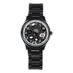 Gray abstract pattern Stainless Steel Round Watch